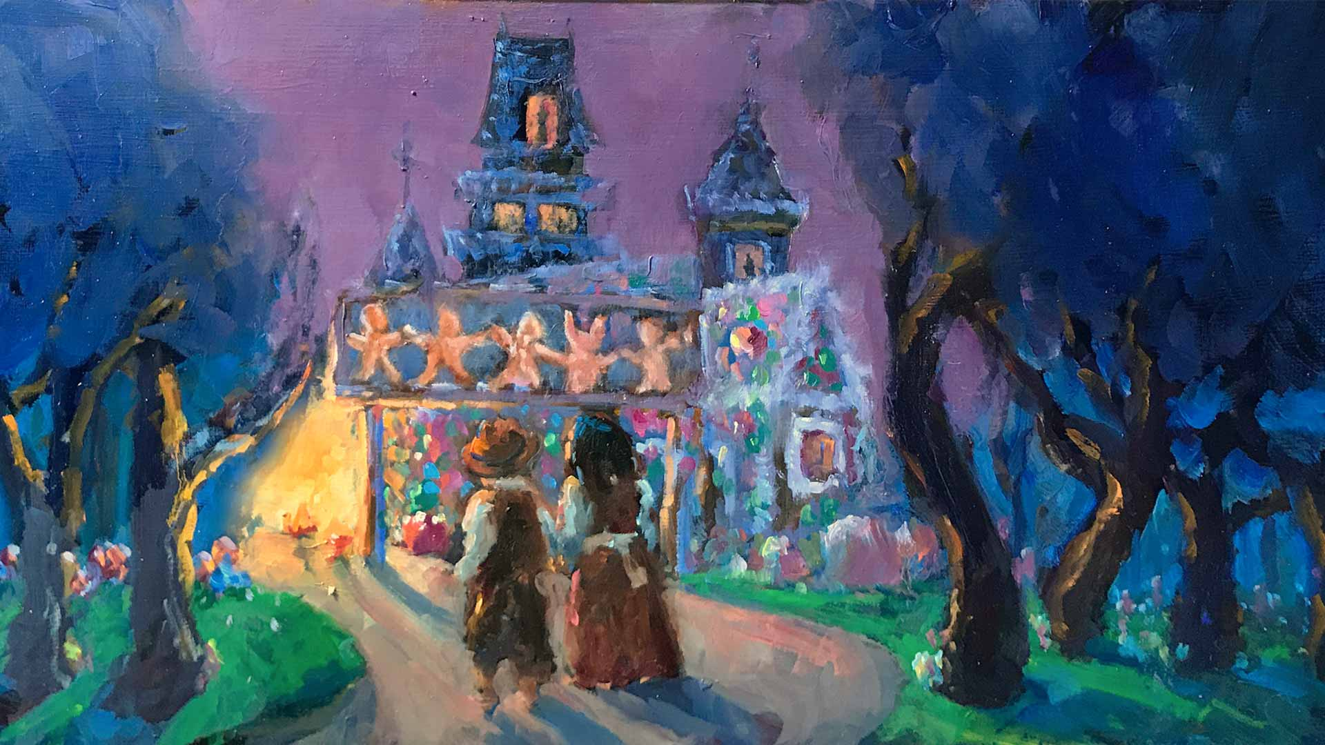 oil painting of boy and girl on a dark forest path looking towarda house glowing with firelight and covered in candy.